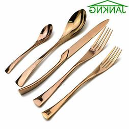 Mirror Rose Gold Plated 304 Stainless Steel Flatware Cutlery
