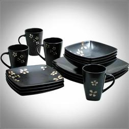 MODERN 32 PIECE SQUARE DINNERWARE SET STONEWARE DISH PLATES