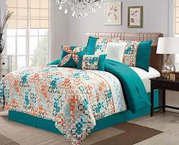 JABA USA 21102-Queen Cicular Pattern Queen Comforter Set