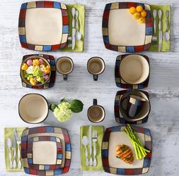 Modern Square Dinnerware Set 16 Piece Dinner Plates Bowls Ki