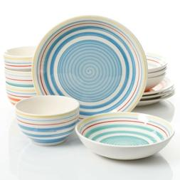 Gibson Home Moody Blues 12 Piece Dinnerware Set, Assorted Co