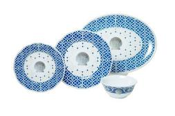 "Moroccan Shell 13 piece Dinnerware Box Set with 16"" Platter"
