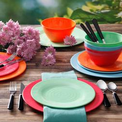 Multi Color Bright Dinnerware Dinner Meal Lunch Plates Bowl