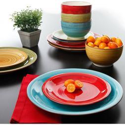 Multi Color Dinnerware Set Kitchen Dinner Ware Plates Bowls