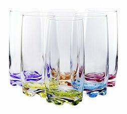 Multicolor Vibrant Splash Water Beverage Highball Glasses, 1
