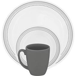 "Mystic Gray 16-Piece Dinnerware Set 4 each: 10-1/4"" dinner p"