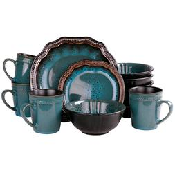 ELAMA MYSTIC WAVES 16-PIECE HIGH GLOSS DINNERWARE SET DINNER