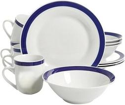 Gibson Nantucket Blue Banded Ceramic 12-piece dinnerware Set