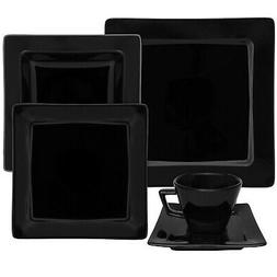Oxford Nara Black 30 Piece Porcelain Dinnerware Set