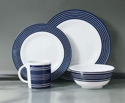 Navy Pinstripe Melamine 16 pce Dinner Set by Flamefield