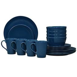 Noritake Navy on Navy Swirl 16-Piece Porcelain Coupe Dinnerw
