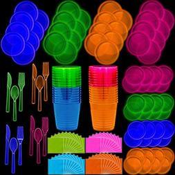 Neon Disposable Party Supplies Set, 32 Guest - 2 Size Plates