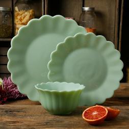 NEW 12 Piece Pioneer Woman Timeless Beauty Jade Dinnerware S