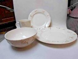 NEW 16 PC, 4 PLACE SETTING THOMPSON POTTERY HAMPTON  EMBOSSE