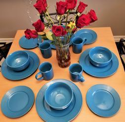 New 16 Piece Blue Ceramic Dinnerware set for 4. 4 Plates, 4