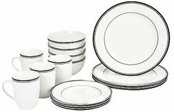 New AmazonBasics 16-Piece Cafe Stripe Dinnerware Set, Servic