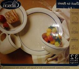 "NEW 32 piece Gibson Dinnerware Set, 10.5""plate, 7""plate, 6""b"