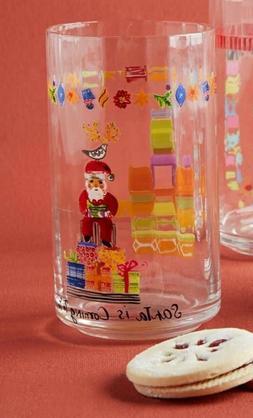 NEW ANTHROPOLOGIE JUICE GLASSES 2 PC SET KRIS KRINGLE ARTIST