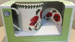 Portmeirion Botanic Garden Red Poppy Mug & Coaster Set/ Fre