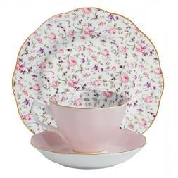 Royal Albert Rose Confetti 3 piece - TEA CUP SAUCER PLATE S
