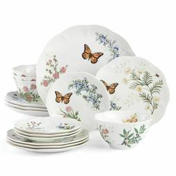 New Lenox Butterfly Meadow Herbs 16-Piece Dinnerware Set Pla