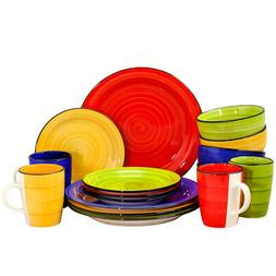 New Gibson Home Color Vibes 16 Piece Round Dinnerware Set, A