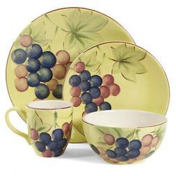 New Gibson Home Fruitful Harvest Grapes 16pc Dinnerware Set