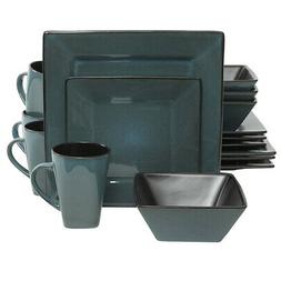 New Gibson Elite Kiesling 16-Piece Dinnerware Set, Blue