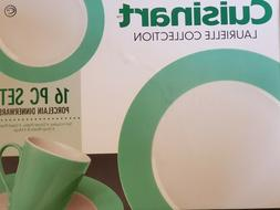 NEW  CUISINART LAURIELLE COLLECTION GREEN BORDER 16 PIECE DI