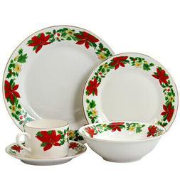 New Gibson Home Poinsettia Holiday 20 Piece Ceramic Dinnerwa