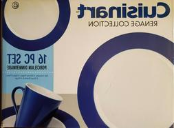 NEW  CUISINART RENAGE COLLECTION BLUE BORDER 16 PIECE DINNER