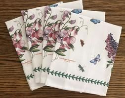 NEW SET 4 Portmeirion BOTANIC GARDEN NAPKINS-SWEET PEA & LIL
