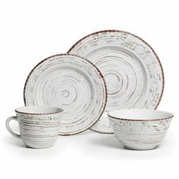 NEW Pfaltzgraff Trellis White Stoneware 16-piece Dinnerware