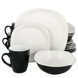 New Gibson Home Tristen 16 Piece Soft Square Dinnerware Set