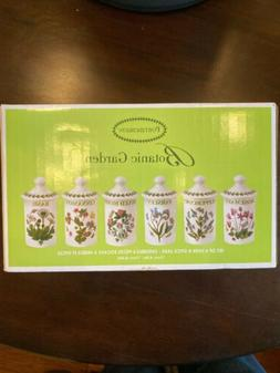 NIB Portmeirion Botanic Garden Set 6 Herb & Spice Jars NEW B