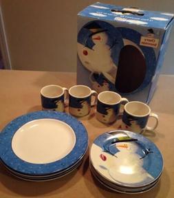 nib sakura cherry snowman dinnerware set 12pc