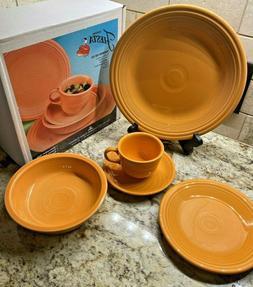 NIB Fiesta Dinnerware Tangerine 5 Piece Place Setting First