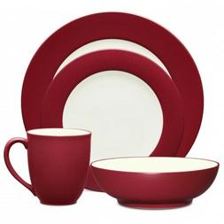 Noritake Colorwave Raspberry Rim 48Pc Dinnerware Set, Servic