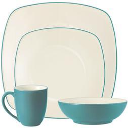 Noritake Colorwave Turquoise Square 32Pc Dinnerware Set, Ser