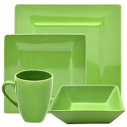 10 Strawberry Street Square 16 Piece Dinnerware Set, Green