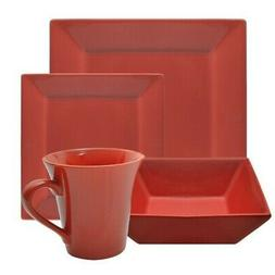 10 Strawberry Street Square 16 Piece Dinnerware Set, Red