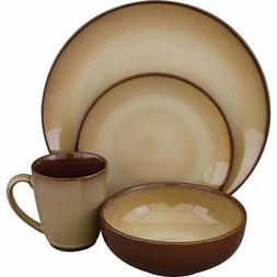 Sango Nova Brown 16 Piece Dinnerware Set, Service for 4