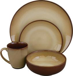 Sango Nova Brown 16 Piece Reactive Glaze Stoneware Dinnerwar