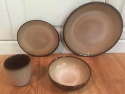 Sango Nova  Brown 4933 16 Piece Dinnerware Service For 4 New