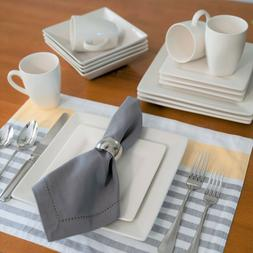 10 Strawberry Street Nova Square 16-Piece Cream White Dinner