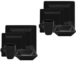 10 Strawberry Street Nova Square 16-Piece Dinnerware Set, Bl