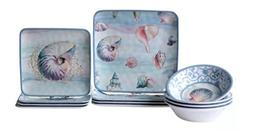 Novelty Seashells Melamine 12 Piece Dinnerware Set