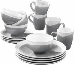 American Atelier Oasis Round Plates Bowls Mugs 16 PIECE Dinn