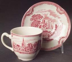 Johnson Brothers Old Britain Castles-Pink  Flat Cup & Saucer