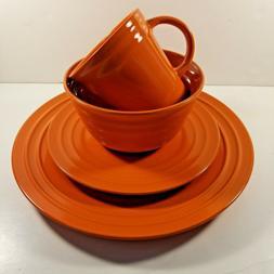 orange 4pc place setting dinnerware salad plate